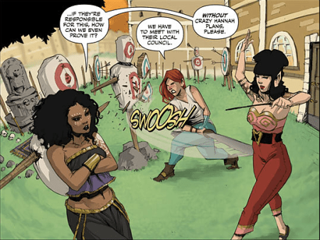 The Rat Queens in casual training mode. Dee, Violet, and Hannah. Art (c) 2014 Roc Upchurch.