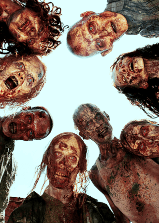 [IMG. eight walkers all looking into the camera from above. All walkers are white.]