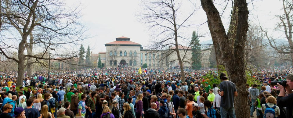 People gathering in Boulder, Colorado, on April 20