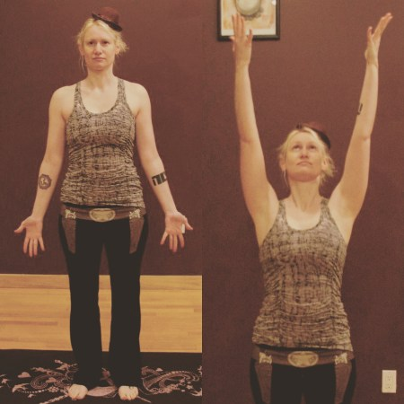 Mountain and Upward Salute yoga poses