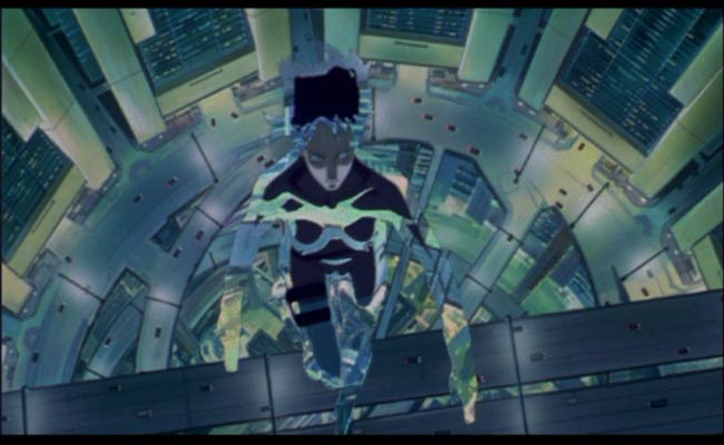 The main character prepares to jump off a ledge in a high-tech camouflaged suit