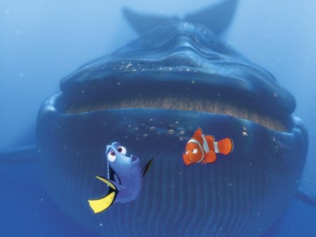 Dory tries to speak whale as a skeptical Marlin looks annoyed, and the whale comes up right behind them.