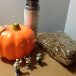 Carvable pumpkine, little figurines, preserved moss, and spray paint. Not shown, giltter glue, sticky googly eyes, knife and hot glue gun.