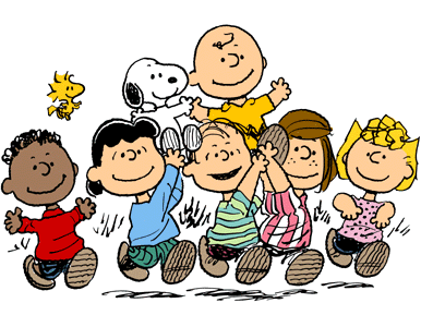 The main characters of Peanuts: Franklin, Woodstock, Lucy van Pelt, Snoopy, Linus van Pelt, Charlie Brown, Peppermint Patty and Sally Brown