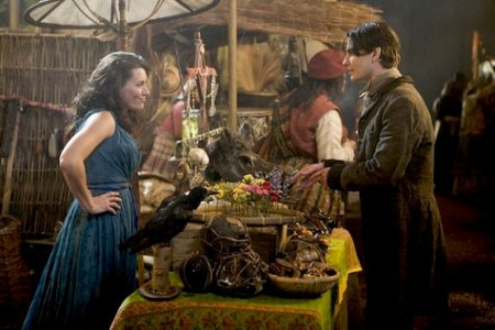 quoth the raven - neverwhere Claire Danes and Charlie Cox as Yvaine and Tristan. She's standing across the bartering table from him in a sleeveless dress, hands on hips, and clearly smirking. He's holding goods to trade.