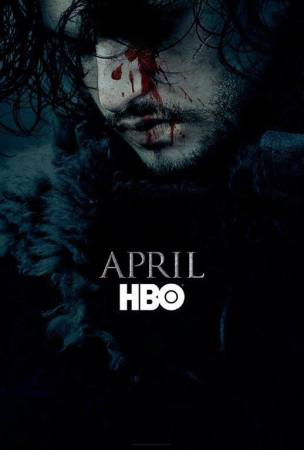 "Game of Thrones season 6 poster featuring Jon Snow and the words ""April"" and ""HBO"""