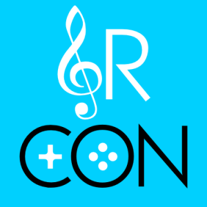 "Gamer's Rhapsody logo, reading ""GR CON"" with a treble clef for the G"