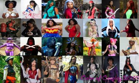 2015's collage of 28 black female cosplayers.