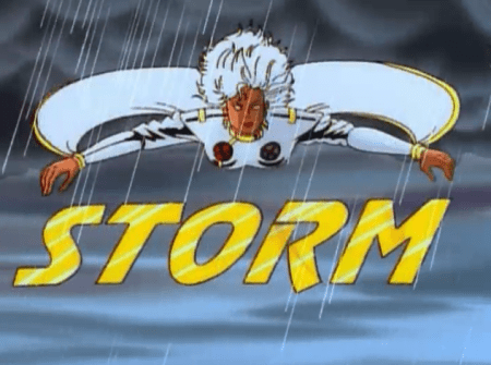 X-Men TAS - E2 - Storm flying above her name in yellow while it's raining.