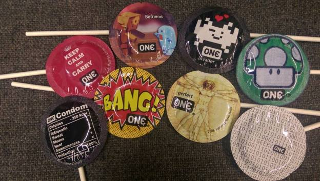 Geeky themed condoms on a stick.