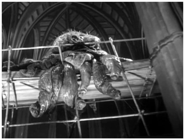 The monster hanging on the church ceiling