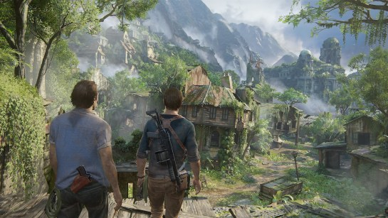 Two characters look out over the game's landscape