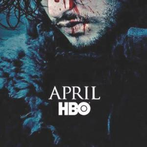 HBO poster featuring Jon Snow with a bloodied face