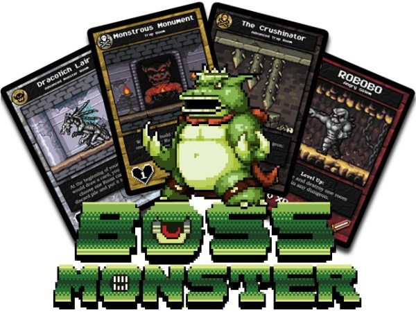 Boss Monster logo, featuring a green monster and several example cards