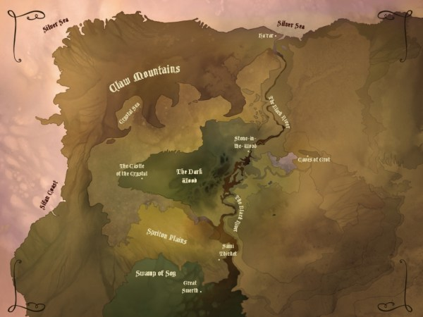 A map of the world of Shadows of the Dark Crystal