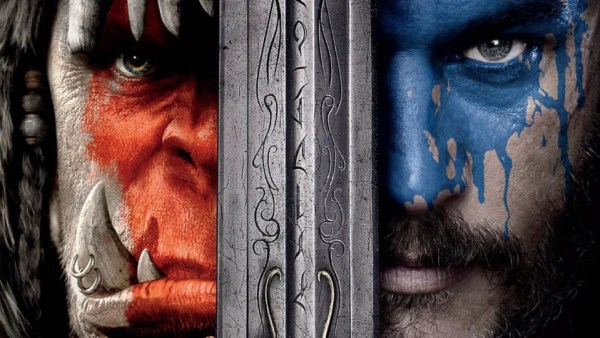 Warcraft movie poster showing an ord with red paint on his face, a human with blue paint on his face, a sword between them