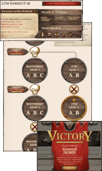 3 images: First image shows exercises, items needed to complete workout and scrolls of wisdom. Second image shows a character going from level 2 to level 3. Third image is says victory on it.