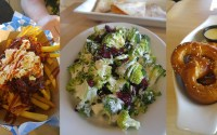 Set of three images showing Fantasy Flight's Canadian-style poutine, Replicating Perfection salad, and Bavarian pretzel