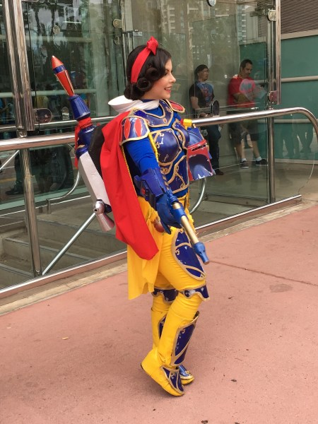 Woman dressed as a mash up of Snow White and Boba Fett.