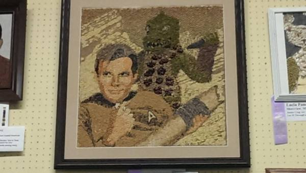Corn art from the Minnesota State Fair featuring Captain Kirk and a Gorn