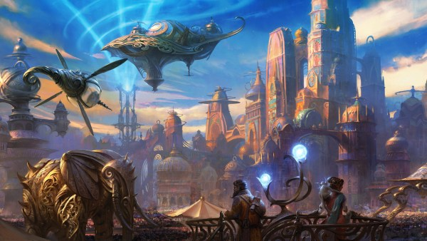 A pair of onlookers view an approaching clockwork elephant laced with golden filigree. In the distance, a similarly-decorated airship cruises past an immense, majestic palace whose metallic walls glint in the morning sun.