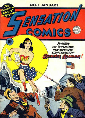 The cover of Sensation Comics #1, featuring Wonder Woman