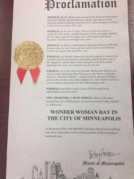 Proclamation by Mayor Betsy Hodges declaring Wonder Woman Day in the city of Minneapolis