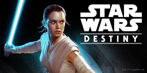 Star Wars: Destiny promotional image featuring Rey holding a lightsaber