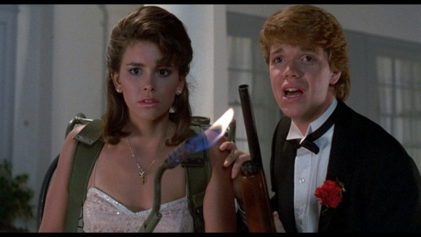 Jill Whitlow and Jason Lively with a blow torch in Night of the Creeps.