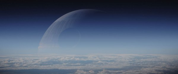 The Death Star looms over a planet.