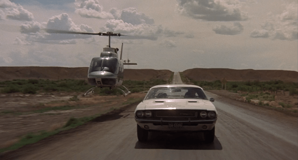 A helicopter chase scene in Vanishing Point.