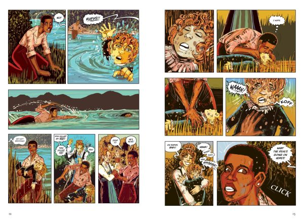 Pages from Kindred showing a scene in which Dana pulls Rufus from the water