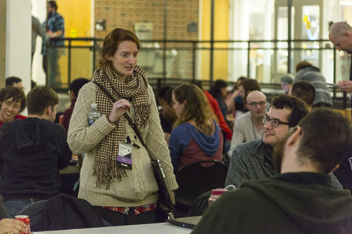 Brainstorming and schmoozing during dinner. (Photo T.A. Wardrope)