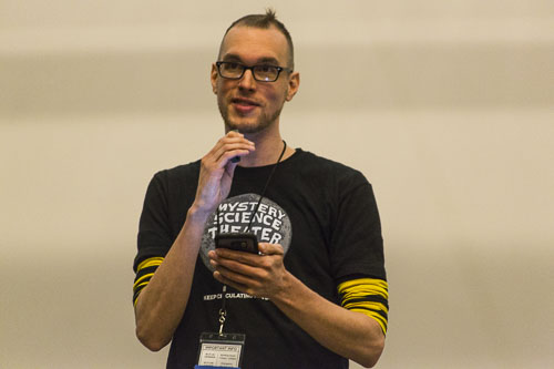 A designer with a MST3K t-shirt makes his pitch. (Photo T.A. Wardrope)