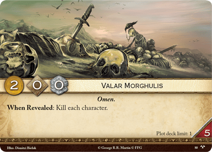 "The ""Valar Morghulis"" card"