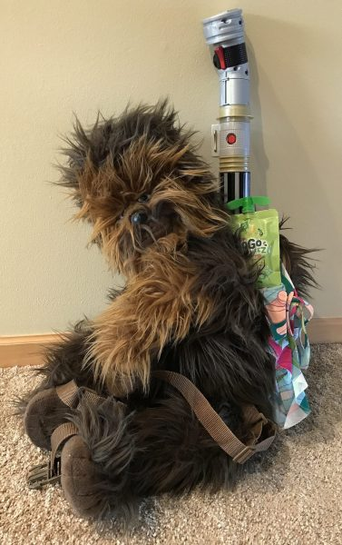 Chewbacca backpack packed for con