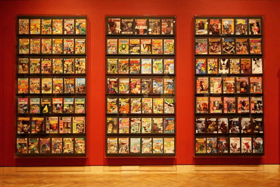 A wall full of comic books.
