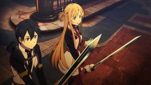 SAO characters Kirito and Asuna in a fighting stance, with swords drawn