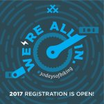 "#30daysofbiking promotional image: ""We're all in: 2017 registration is open!"""