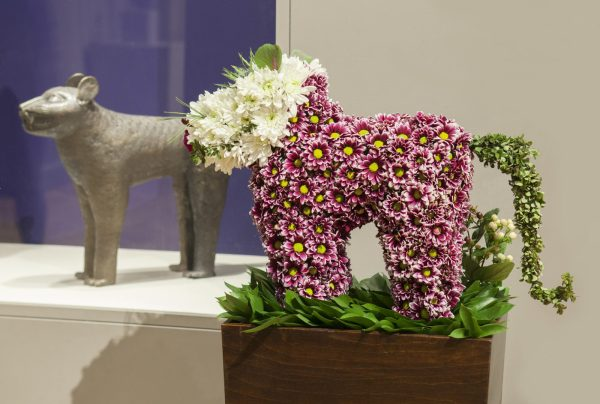A floral sculpture inspired by a sculpture from the musem's collection