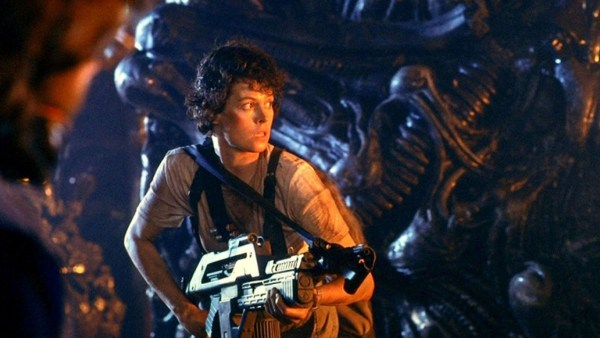 Ripley with a flamethrower is ready to take on the alien queen.