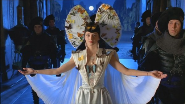 Irulan's outfit is covered by butterflies.