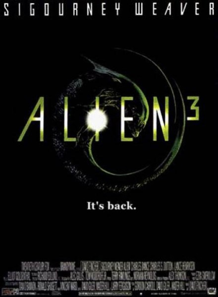 Alien 3 poster. Tagline: It's back.