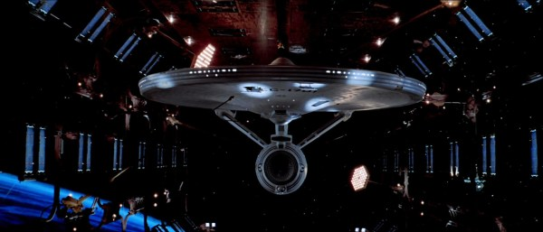 A shot of the starship Enterprise in drydock.