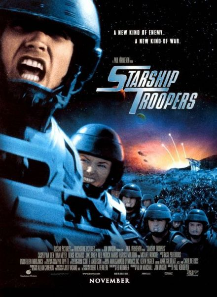 "Teaser poster for Starship Troopers. Tagline reads ""A New Kind of Enemy. A New Kind of War."""