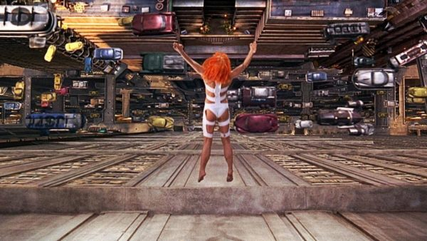 Leeloo leaps from a building.