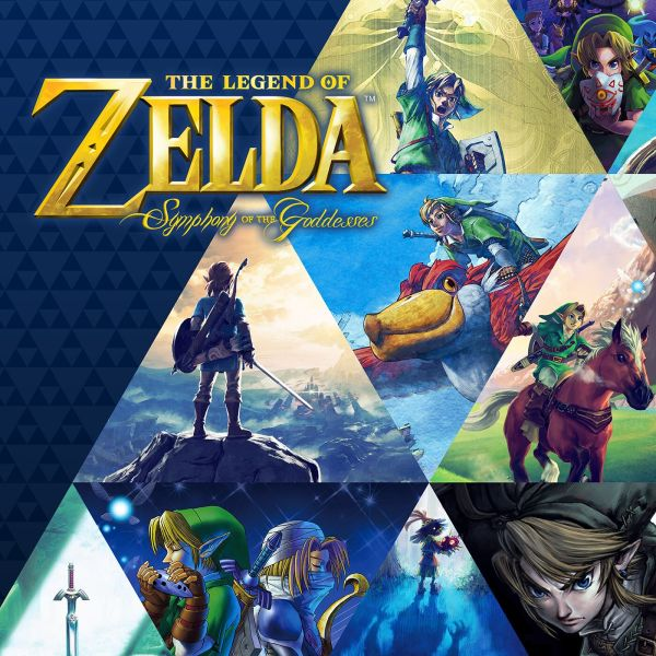 Various images from the Zelda series with the title, Zelda Symphony of the Goddess