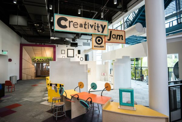 The Creativity Jam exhibit at the Minnesota Children's Museum, showing mirrors and chairs for face painting.