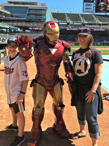 Baseball fans with Iron Man
