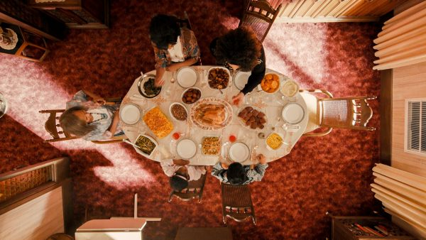 The Thanksgiving table viewed from above